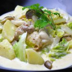 ■鶏肉レシピ■水郷どりと春キャベツのマスタードクリームソース煮