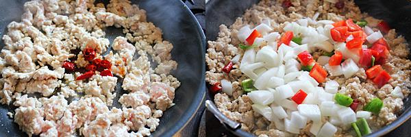 ガパオライス ひき肉を炒める