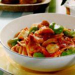 ■ 鶏肉レシピ ■鶏肉(もも肉)とそら豆のミートパスタ
