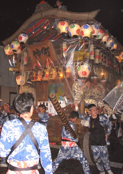 小見川祇園祭 梃子でのそろばん曳