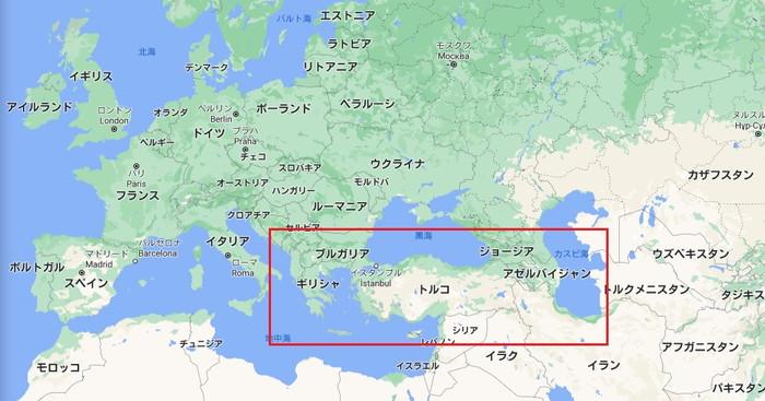 シチメンチョウとトルコの関係をみる地図